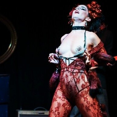 Sydney Burlesque Dancer Kelly Ann Doll live on stage for Burlesque at the Bones , LazyBones Lounge Marrickville