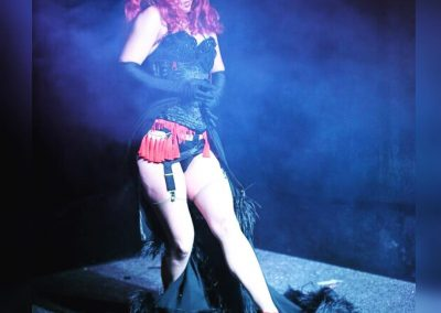 Sydney Burlesque Dancer Kelly Ann Doll live on stage for Falcons Burlesque in Glebe