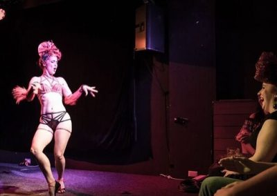 Sydney Burlesque Dancer Kelly Ann Doll live on stage for Falcons Burlesque