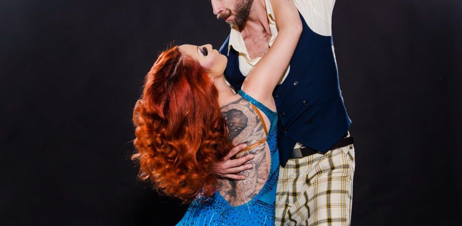 Studio shot of Burlesque Dancers Kelly Ann Doll & The Tasteless Gentleman in a action